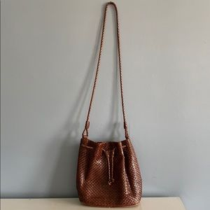Vintage Brown Leather Nine West Bucket Bag